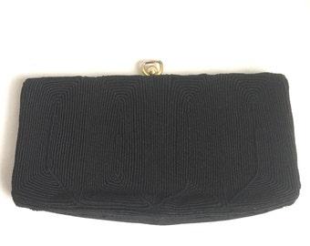 1940s black cordé clutch purse