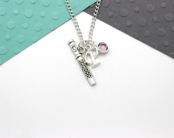 Personalized Flute Charm Necklace, Flutist, Music, Musician Gift Necklace, Personalised Swarovski Birthstone & Initial Name Gift