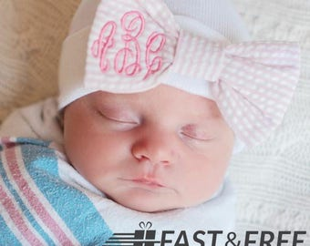 Personalized Embroidered Baby Girl Monogrammed Seersucker BOW - Your MONOGRAM- Your thread color- Hospital Hat