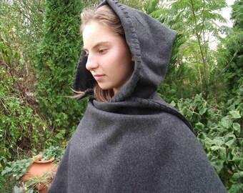 Dark grey woolen elven medieval cloak
