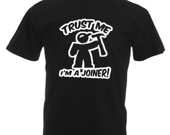 Joiner Adults Mens Black T Shirt Sizes From Small - 3XL