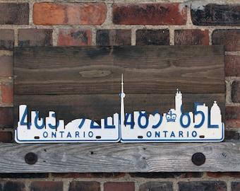 Toronto Skyline Art - Handmade Vintage Rustic License Plate Art