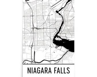 Niagara Falls Map, Niagara Falls Art, Niagara Falls Print, Niagara Falls NY Art Poster, Niagara Falls Wall Art, Niagara Falls Poster, Gift