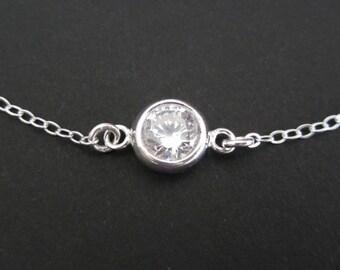 Sterling Silver CZ Bracelet. Cubic Zirconia Bracelet. Minimalist Jewelry. Bridesmaid Bracelet. Sparkle Solitaire Cubic Zirconia Jewelry.