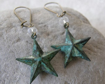 Patina 3D Star and Crystal Dangle Earrings, Verdigris Patina, Friend, Sister, Mom Gift
