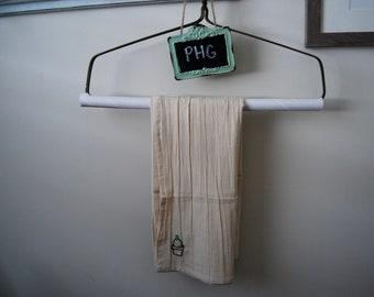 Cactus Embroidered Tea Towel