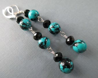 Black and Turquoise Long Trickles . Leverbacks . Earrings