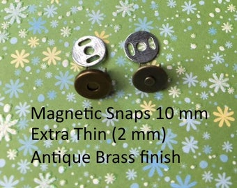 15 sets extra small extra thin nickel or antique brass plated magnetic snaps (10 mm)