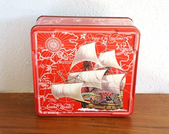 Vintage Red Assorted Biscuits Metal Container Tin Voyage of the Mayflower Made in England