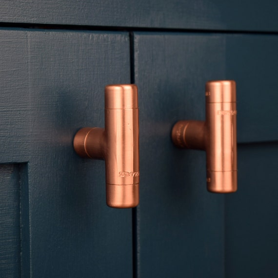 Modern Copper T Knob Contemporary Drawer Pull Handle Knob