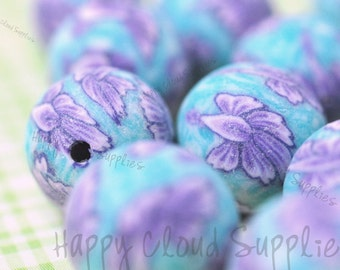 12mm Purple and Blue Round Polymer Clay Beads... 30pcs
