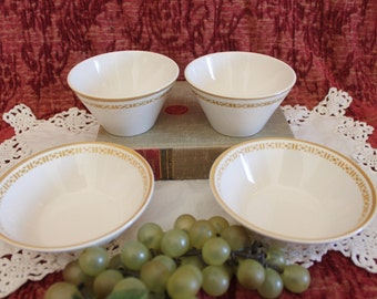 Collection of 4 Syracuse China - 12-B Syralite, 2 Soup Cups, 2 Soup Bowls