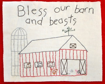 "PDF Stitchery Pattern ""Bless Our Barn and Beasts"" Farm"