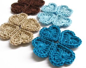 Crocheted hearts 0.8 inches brown turquoise blue cream, tiny appliques, set of 16