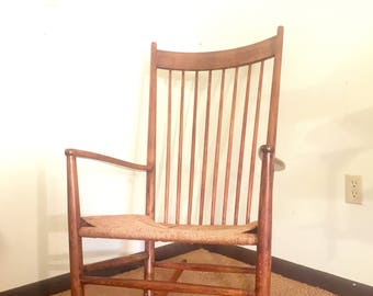 Mid Century Danish Modern Hans Wegner J15 Rocking Chair