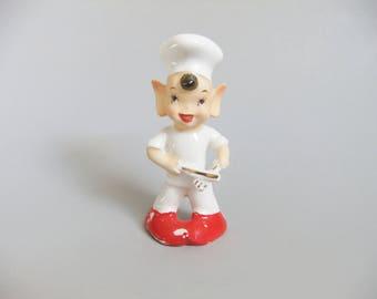 Vintage Elf Salt Shaker, Cook Chef Gift, Ceramic Elf Figurine, Pixie Elf, 1950's Mid Century Christmas Decor, Pointy Ears, Elf Chef