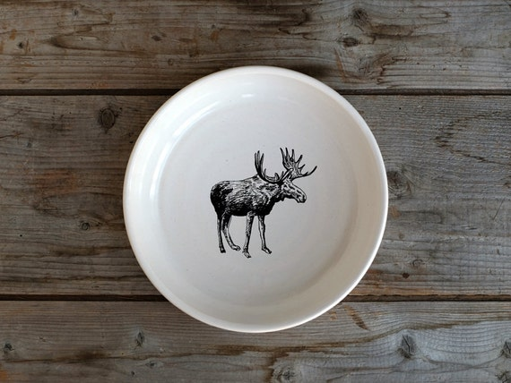 Handmade Porcelain shallow bowl/pasta bowl with moose drawing by Cindy Labrecque, Canadian Wildlife collection