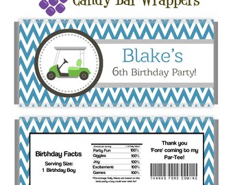 Golf Candy Wrapper - Blue Damask, Gray Green Golf Cart, Golfer Personalized Birthday Party Favor Candy Bar Wraps - A Digital Printable File