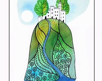 Landscape painting, Watercolor painting of trees, Hilltop illustration, Drawing of buildings, Houses, 10 x 8 print, Green artwork, Ink art