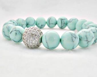 Mint Turquoise Bracelet Aqua Bracelet Turquoise Diamond Look Turquoise Rhinestone Turquoise and Diamond Gift Summer Gemstone Boho
