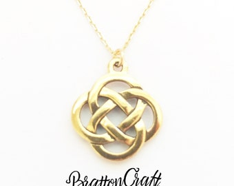 Gold Celtic Knot Necklace - Celtic Necklace - Irish Necklace - Scottish Necklace - Gold Celtic Jewelry