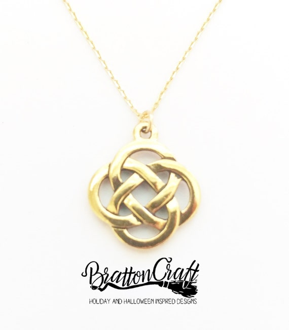Gold celtic knot necklace celtic necklace irish necklace aloadofball Image collections