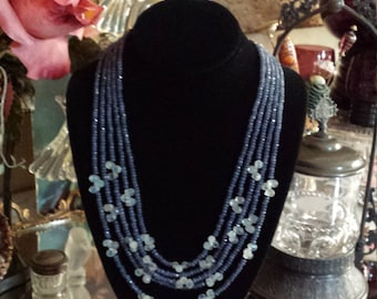 Five strand blue sapphire necklace with moonstone florets