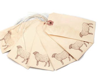 Sheep Tags, Gift Tags, Tea Stained, Country Style, Vintage Style, Lamb Tags, Hang Tags, Merchandise, Favor Tags, Journaling, Party Decor