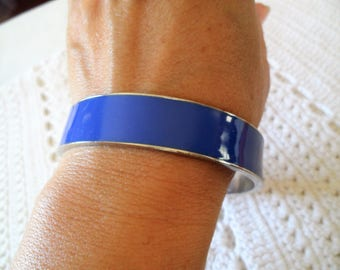 Silver Tone Blue Enamel Vintage Bangle Bracelet