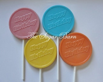 HAPPY BIRTHDAY CHOCOLATE Lollipops*12 Count*Birthday Party Favors*Birthday Gift Basket*Favor Bags*Birthday Candy*Kids School Party Treats