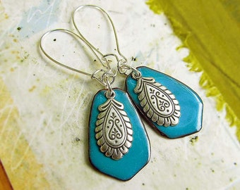 Turquoise earrings Enamel earrings Silver earrings Paisley bohemian jewelry