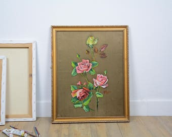 Painted vintage roses on gold, still life, shabby chic, French country.