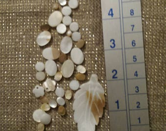 Vintage Leaf & Various Beads all in Mother-of-Pearl Tone