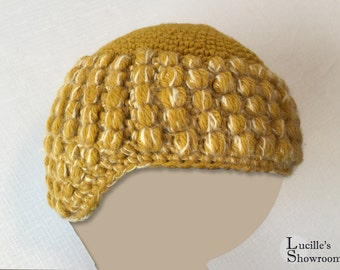 Vintage Cloche - Knit Hat - Yellow Knit Hat