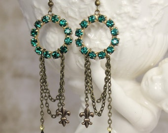 Vintage Assemblage Emerald Rhinestone Hoop and Chain Dangle Earrings - Emerald Crystal Navette and Fleur de Lis Charms by Boutique Bijou