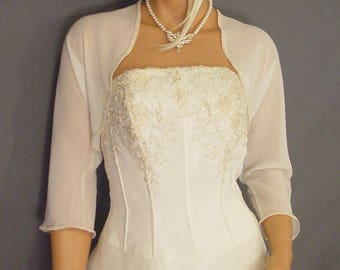 Chiffon bolero jacket 3/4 sleeve trimmed shrug wedding wrap bridal cover up CBA204 AVL IN ivory and 4 other colors. Small - Plus size!