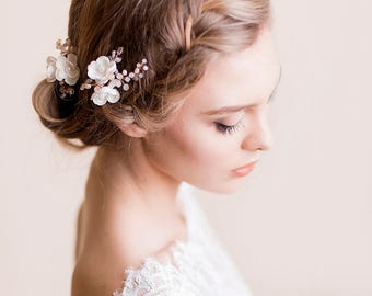 Bridal Hair Pins of Apple Blossom - Wedding Flower Pins - Delicate Bridal Headpiece - Wedding Hair Accessory