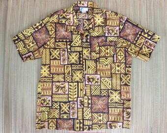 Vintage Hawaiian Shirt 70s ISLANDER Mod Tribal Tiki Weekend Warrior Party Shirt Mens - L - Oahu Lew's Shirt Shack