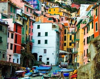 Cinque Terre Italy Photography - Travel, Cinque Terre, Romantic Wall Art - Riomaggiore Fishing Village