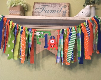 Little Monster party Rag Garland Banner Highchair Banner -  Little Monsters Colors Green Blue Orange Bunting Personalized - Shower