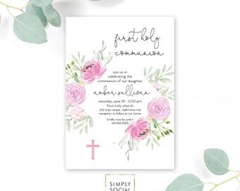 Purple Floral First Holy Communion Invitation - Floral Communion Invite Baptism Invite Peony Lilac Printable Invitation Religious Cross