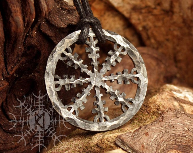 NEW ITEM! ~ Forged Iron Helm of Awe Aegishjálmur Vikings Icelandic Nordic Runic Pendant Talisman Necklace