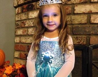 IN STOCK!! Aqua Rhinestone Hand Embellished Princess Elsa inspired Dress, Elsa Costume - Snowflake Dress - Queen Elsa costume-10125