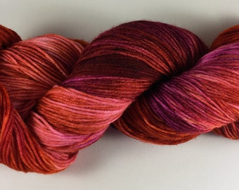 hand dyed sock yarn, fingering weight, superwash merino and nylon, multi-colorway NARTAKEE