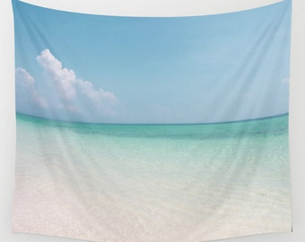 Calm Waters Tapestry, Nautical Tapestry, Coastal Large Wall Decor, Surf, Aqua Blue, Nature Tapestry, Beach,Sea Water, dorm, hotel, office