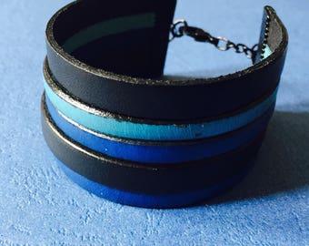 genuine leather bracelet 3 cm largeurmasculin or feminine three colors