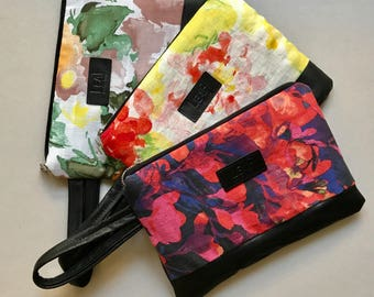 Recycled Pastel Floral Clutch, Large Floral Purse, Handbag with Flowers, Floral Clutch, Leather Clutch, Floral Zipper Pouch