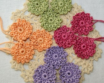 Crocheted Flowers - Select 12 - Fall Colors - Spring Colors - Tiny Floral Appliques - Supplies Doll Making - Cardmaking - Embellish Clothing