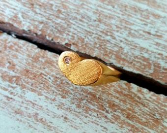 14K Gold Heart Ring, Diamond Heart Ring, Large Heart Ring, Chunky Ring, 14k Wide Band Ring, 14k Gold Love Ring, Heart Ring for Her
