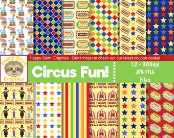 Circus Fun digital paper set, personal and commercial use Clown digital Scrapbooking papers.
